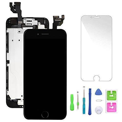 Compatible with iPhone 6 Screen Replacement Black,LCD Display Touch Screen Digitizer Frame Full Assmebly with Front Camera+Home Button+Sensor Flex+Speaker+Protector and Free Repair Tools(4.7