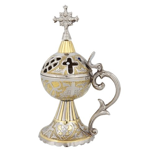 Greek Russian Orthodox Christian Two Tone Censer Incense Burner (4097 GN) by eChurchSupplies (Image #1)