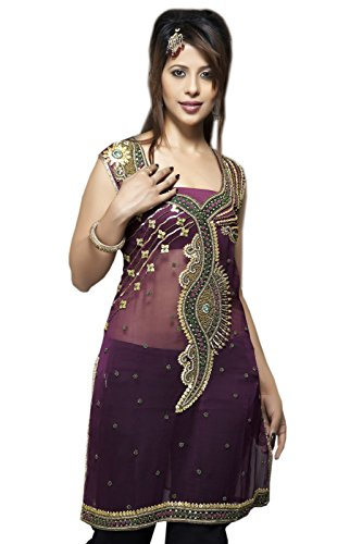 Sleeve Less Ladies Party Wear Dress, Designer Tunic Top (m) by Jayayamala