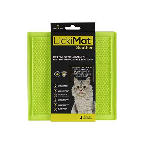 Hyper Pet Lickimat Slow Feeder Cat Mat (Perfect for Cat Food, Cat Treats, Yogurt, Or Peanut Butter) [Funalternative to Slow Feed Cat Bowls], Boredom Buster & Cat Calming, Green