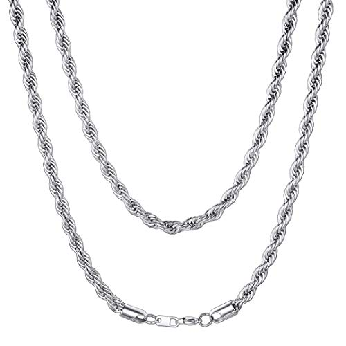 ChainsHouse Men Women Twisted Style Rope Chain 6mm Wide Stainless Steel Cord Necklace, Boys Gift, Box, 30