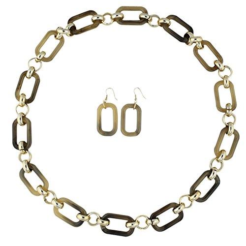 Heirloom Finds Long Gold Tone Beige Plastic Rectangular Link Necklace Earring Set