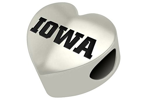 Iowa Hawkeyes Sterling Silver Heart Bead Fits Most European Style Bracelet -
