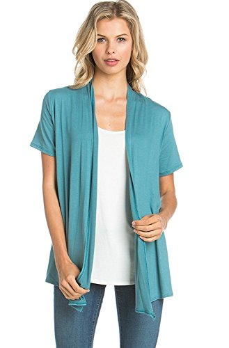Encler Women's Short Sleeve Open Front Drape Cardigan Wrap Sweater (S-3X) Reg Plus Size - Made in USA (X-Large, Bermuda Blue)