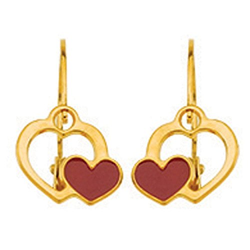 So Chic Jewels - 18k Yellow Gold - Double Heart with Red Enamel Leverback Dangle Earrings by So Chic Jewels
