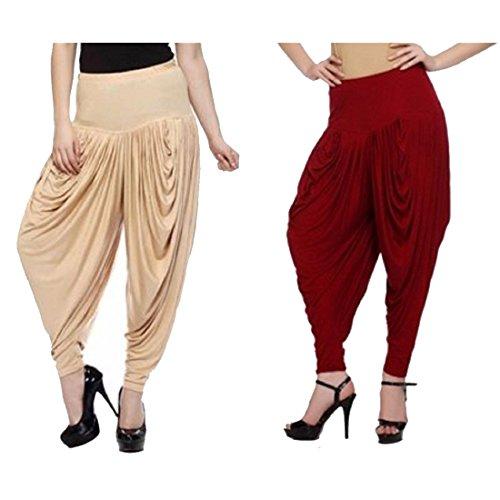pack-of-2-yogalz-women-maroon-beige-color-harem-indian-dhoti-pants