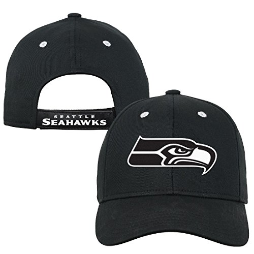 NFL Youth Boys Black and White Structured Adjustable Hat-Black-1 Size, Seattle Seahawks
