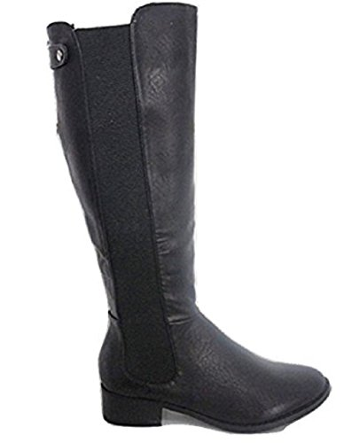 Black Leather Look Riding Boot with Expandable Outer Gusset to suit most calf Sizes UK 3 to UK 8