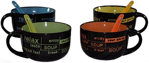 4 Mug Set with Soup Spoons ()