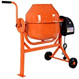 COSTWAY Concrete Mixer, 63L Electric Portable Cement, Mortar, Plaster Mixer with 2 Movable Wheels, Side Handle for Angle Adjustment, Large Capacity, Upgrade Durable Frame