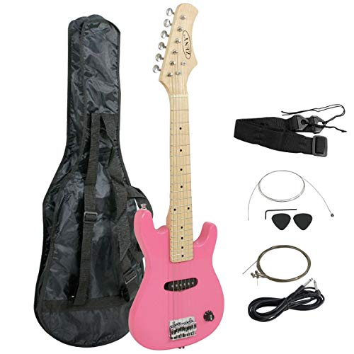 "ZENY 30"" Electric Guitar Set Beginner Kits for Kids with Gig Bag,Cable,Strap (Pink)"