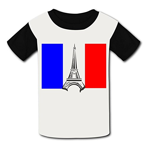 Price comparison product image Best Lee Eiffel Tower France Flag DIY Printing Polyester Short Sleeve T-Shirt for Boys and Girls L