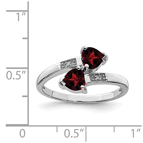 (Sterling Silver Rhodium Plated Garnet & Diamond Heart Ring (Color H-I, Clarity SI2-I1))