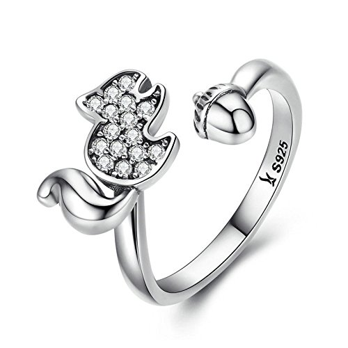 (JustM 925 Sterling Silver Sparkling CZ Stones Squirrel and Acorn Cute Ring for Girls Women (6))