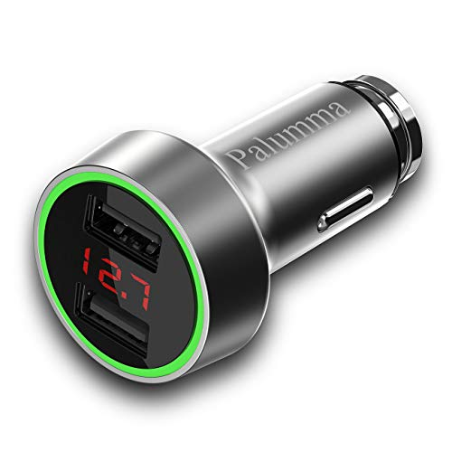 PALUMMA Car Charger, 5V/3.6A Dual USB Port Safe Smart Quick Car Charger Adapter with LED/LCD Display Battery Low Voltage Warning Volt Meter Car Battery Monitor (Silver)