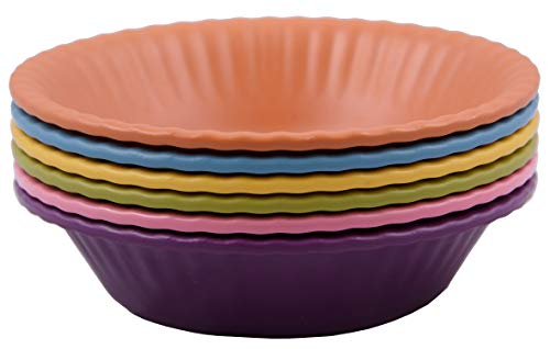 Melange 6-Piece 100% Melamine Bowl Set (Paper Plate Collection) | Shatter-Proof and Chip-Resistant Melamine Bowls | Color: Multicolor ()
