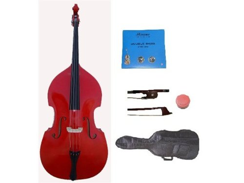 GRACE 3/4 Size Red Upright Double Bass with Bag,Bow,Bridge+2 Sets Strings+Rosin by Grace