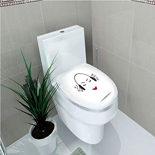 Toilet Cover Decoration,Music Decor,Young Lady Listening Music with Earphones Smiling Close Eyed Girl Enjoying Melody Theme,Black White,3D Printing,W12.6