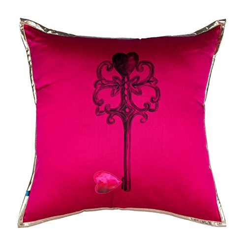 Price comparison product image Key Soft Vintage Decorative Throw Pillow Cover for Sofa, Couch & Bed, 18x18, Hot Pink