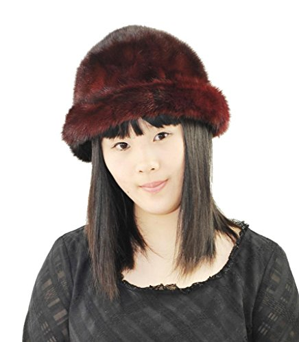 Fashion Women Patchwork Real Mink Fur Cap,Red by CX FUR