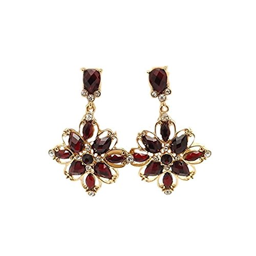 CIRCA 1900 JEWELRY Goldtone Sunflower with Red Crystal Dangle Earrings 2