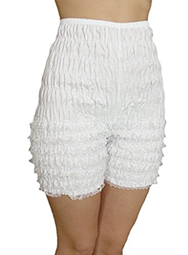Malco Modes Womens Ruffle Panties Bloomers Dance Bloomers for Sissy Victorian (White, (Lace Square Dance)