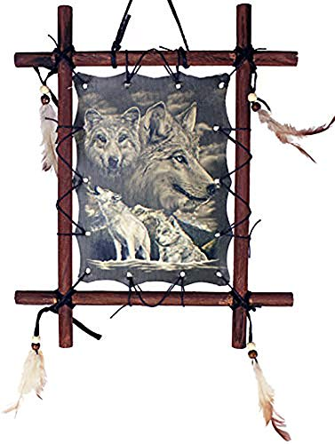 OBI Framed Indian Picture Native American Art 9 X 11 inch (Including Frame) Reproduction ... (Bright White Wolves)