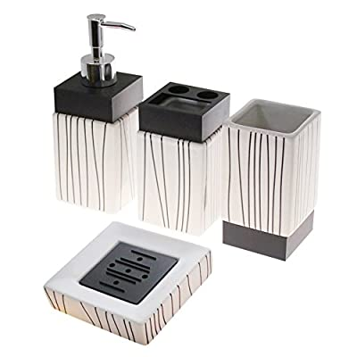 4-Piece Ceramic Bathroom Accessory Set - White with Black Lines - 4-Piece set includes soap dispenser, soap dish, toothbrush holder and cup Fun design with black vertical lines pattern Made of Ceramic - bathroom-accessory-sets, bathroom-accessories, bathroom - 41bwWWGqhtL. SS400  -