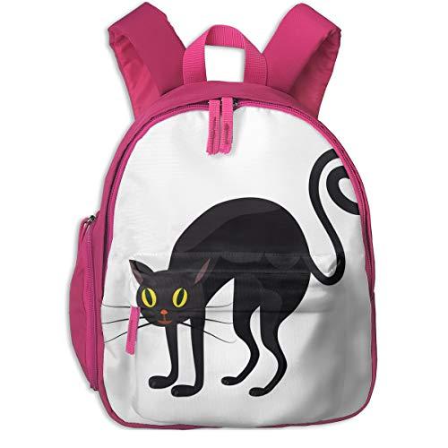 Halloween Black Cat Double Zipper Waterproof Children Schoolbag With Front Pockets For Teens Boy Girls ()