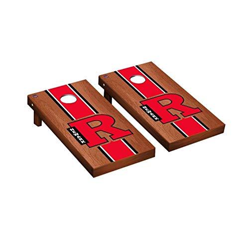Victory Tailgate Regulation Collegiate NCAA Rosewood Stained Stripe Series Cornhole Board Set - 2 Boards, 8 Bags - Rutgers Newark Scarlet Raiders