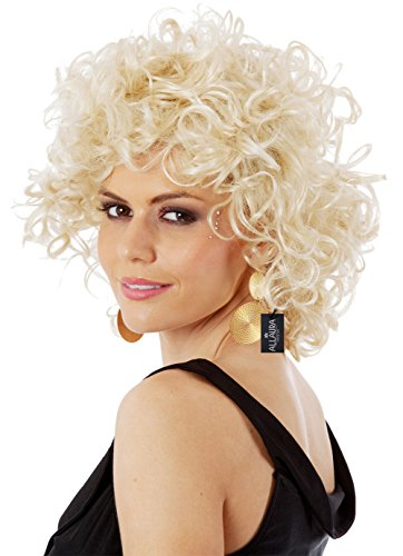 ALLAURA Short Blonde Curly Sandy Wig 50s Grease Costume Ladies and Kids – Bad Girl Sandy for $<!--$18.99-->