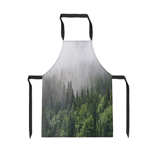 Pinbeam Apron Evergreen Forest Overview Tops of Tall Green Trees with Adjustable Neck for Cooking Baking ()