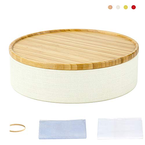 Storage Round Box  with Bamboo Wooden Lid, Scroll Pattern Secure Durable Storage and Organization for Seasonings, Herbs or Small Items Coffee, Dry Goods Candy Storage Loose Leaf  (White, - Scroll Wood Patterns