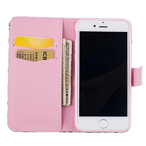 Para Smartphone Apple Iphone 7(4.7pulgadas) funda Flip cover funda piel [Tarjetero] funda piel cartera Executive Diseño + Polvo Conector negro 3 6