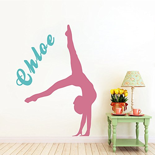 Vinyl Wall Decals Stickers of Girls Gymnastics Tumble Motion