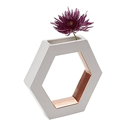 FLOOR | 9 Ceramic Vase, Open Hexagon, White with Rose Gold Accents, Large (White And Gold Shelves)