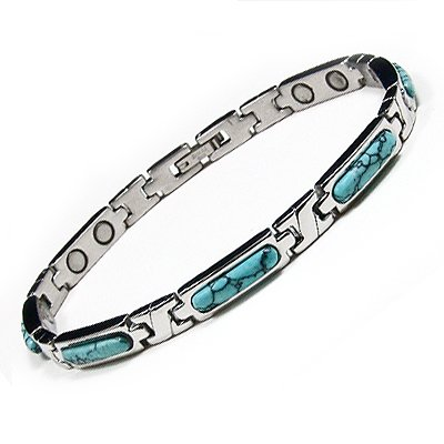 Women's Turquoise Stainless Steel Magnetic Golf Link Bracelet 7.5