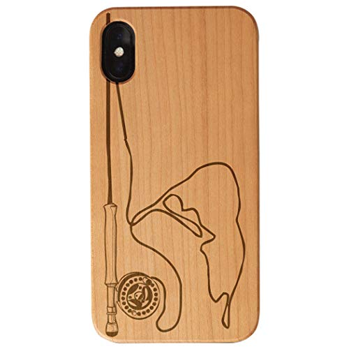 Fly Fishing Engraved Wood iPhone X Case | Nantucket Fishing