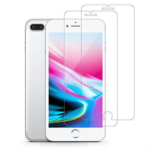 [2-PACK] iPhone 8 Plus 7 Plus Screen Protector, GLASS-M Ultra Clear Bubble Free Anti Fingerprint 9H Hardness Tempered Glass Invisible Shield 3D Touch Compatible Scratch Resistance for iPhone 8 Plus
