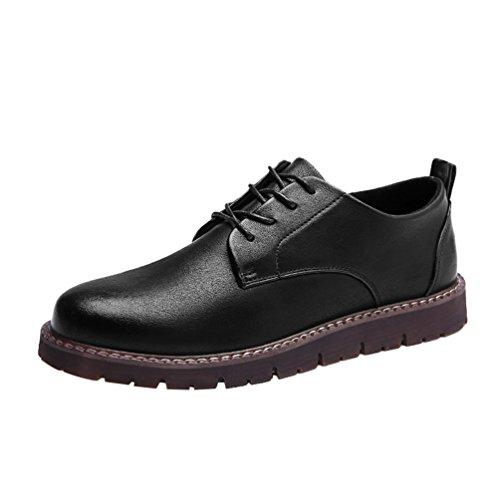 Sneakers in Mocassini Lavoro Uomo Nero PU Pelle Stringata Anguang Affari Scarpe Moda pqYaEwEA