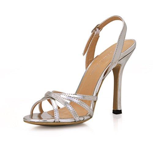 D'argent Sangles Haut D'été Talon Grandes Pour Silver Élégance Les Banquet Femme Sandales Femmes Chaussures À Xw1awO