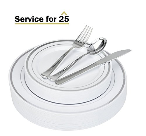 125 Piece Silver Plastic Place Setting Set Service for 25 with Silver Cutlery - Disposable u0026 Heavy Duty Includes 25 Dinner Plates 25 Dessert Plates ...  sc 1 st  Towels and other kitchen accessories - .towelsand.com & Elegant Disposable Dinnerware | Towels and other kitchen accessories