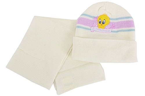 - Tweety Bird Infant Girl's White Sweet Tweety Winter Hat & Scarf Set