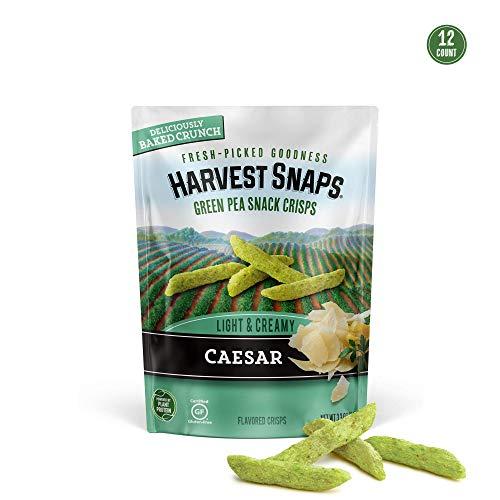 Harvest Snaps Green Pea Snack Crisps Caesar, 3.3 oz (Pack of 12). Plant-based   Baked, never fried   Certified Gluten-Free