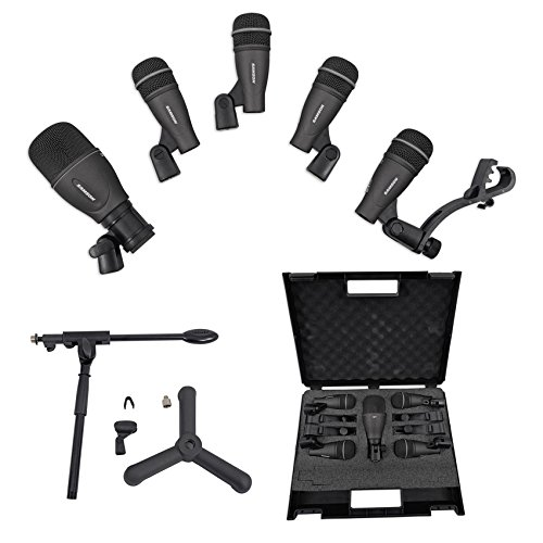 - Samson DK705 Drum Microphone Kit-(1) Q71 Kick Mic+(4) Q72 Snare/Tom Mics+Stand