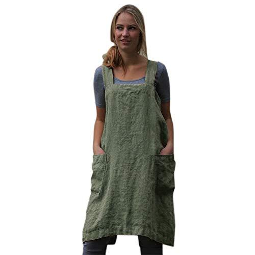 Cikuso Traje Vintage Vestido Para Mujeres Bolsillo Delantal ...