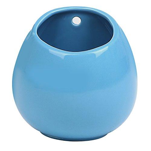 Mini Cerulean Blue Ceramic Freestanding & Wall-Mountable Succulent Planter Flower Pot ()