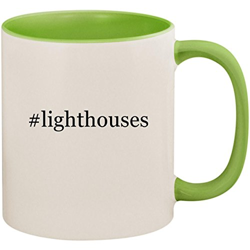 Harbour Lights Ornament - #lighthouses - 11oz Ceramic Colored Inside and Handle Coffee Mug Cup, Light Green