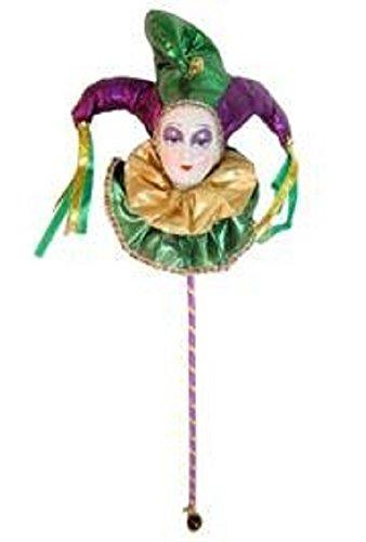 Pierrot/ Jester Doll On A Stick, 14in x 5.5in -