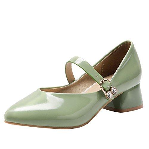 Carolbar Donna Dolce Lolita Punta A Punta Fibbia Da Sposa Mary Janes Scarpe Profondo Verde Menta